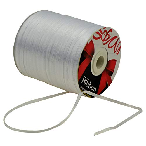 1/8-Inch Satin Ribbon by 870 Yard Spool | 3mm Double Face Woven Polyester Ribbon Hanging Tag&Card for Art Projects | No Fading Scrapbook Fabric Wedding Ribbon (1/8-Inch x 870 Yard x 1 Spool, White)