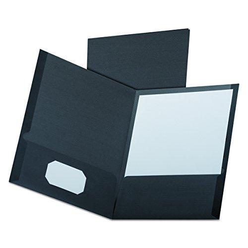 Oxford Linen Twin Pocket Portfolios, Black, 25 per Box (53406EE)