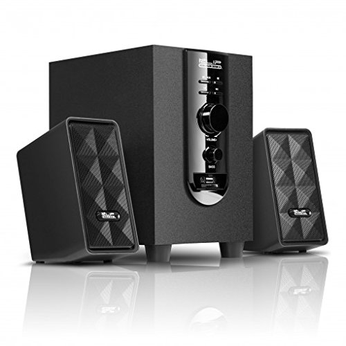 Tv Function Dual Card - Klip Xtreme AcoustiXFusion III 2.1 Stereo Speakers with USB and SD Card Playback-Subwoofer with Bass & Media controls-40Watt Peak Power-20W RMS-3.5mm Connector-Great for Computer,Laptop,Media Center