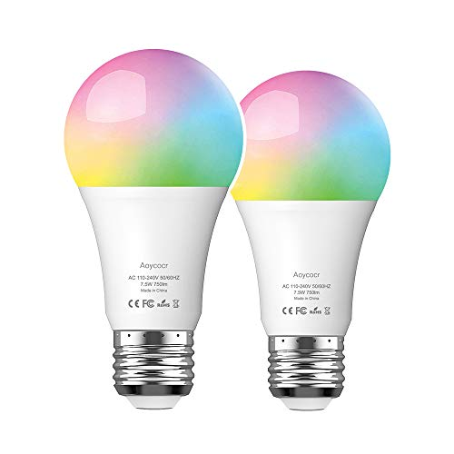 Smart WiFi LED Light Bulb, A19 75W Equivalent Dimmable LED Smart Bulbs Work with Alexa, Echo, Google Home and IFTTT, No Hub Required, Wi-Fi, 750Lm, RGB Color Changing, 2 Pack