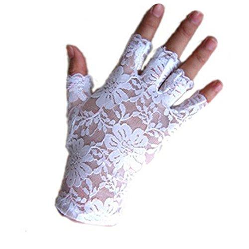 Women Gothnic Party Sexy Dressy Lace Gloves Fingerless Black White Mittens (White)