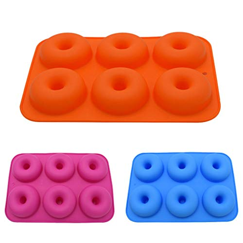 Pangxiannv Cavity Silicone Donut Baking Pan Non-Stick Mold Dishwasher Decoration Tools 6 Silicone Donut Mold Silicone Cake Mold Donut Mold Paradise Donuts Factory Country Donuts]()