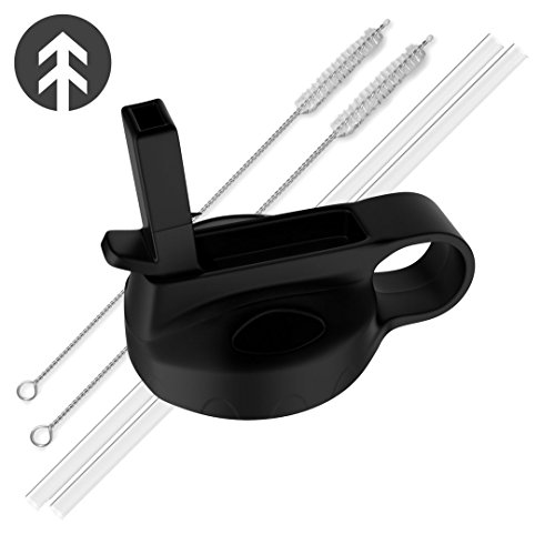 Hydro Flask Wide Mouth Straw Lid - by TAHVO - Fits 32 oz, 40oz, 18 oz, and 64 oz Growler (1 Pack, 2 Straws / 2 - Deals Friday Off Black 50