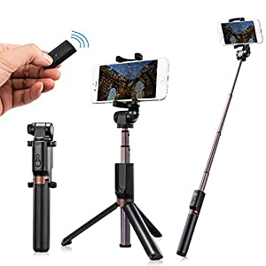 Humixx 2-in-1 Selfie Stick Wireless Remote Controlled Tripod Monopod Widely Compatible with IOS and Android Smartphones, Best Partner for Podcast, Selfie Live and Facetime