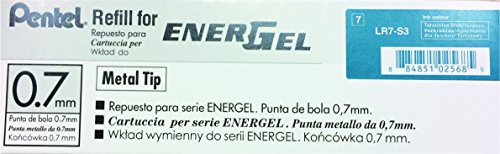 Pentel Refill Ink for EnerGel RTX Retractable Liquid Gel Pen, 12 Pack, 0.7mm, Medium Line, Turquoise Blue (LR7-S3) Photo #3