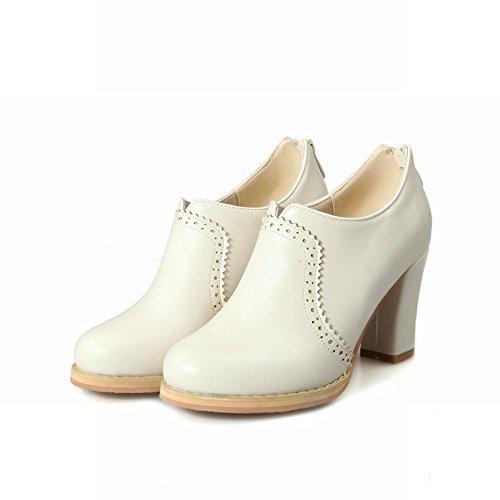 Bottines Shoes chic femmes blanches à talon de Mee pour PqrPC