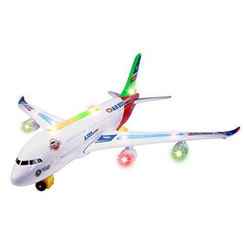 CifToys Airplane Toys Airbus A380 Toy-Bump and Go Action Model Plane Toys with Flashing Lights Sounds