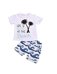 Little Boys' Cotton Clothing Short Baby Sets Newborn Infant Baby Girls Boys Letter Print T Shirt Shorts Outfits