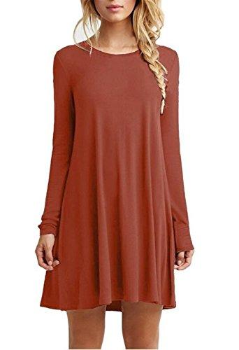 Minetom Mujer Mini Dress Vestido Mini Ocasional Del Verano Cuello Redondo A-Línea Atractivo Estilo Suelto Estudiantes Estilo De Escuela Color Sólido Naranja