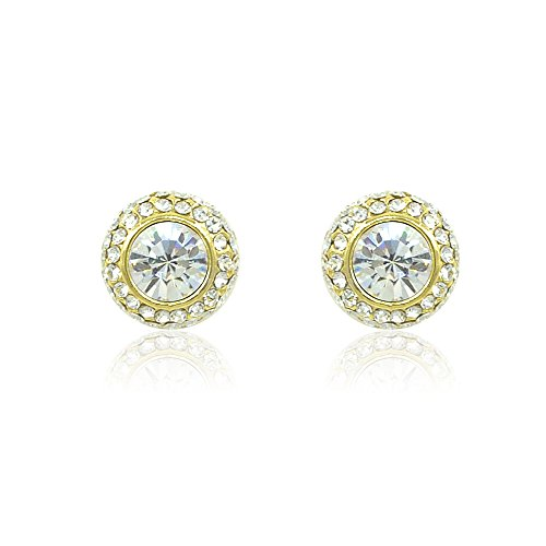 Espere Gold Tone Swarovski Elements Crystal Halo Ball Stud Earrings - Authentic Halo Costumes