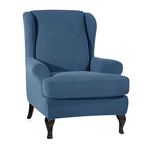 CHUN YI 2-Piece Stretch Jacquard Spandex Fabric Wing Back Wingback Armchair Chair Slipcovers (Wing Chair, Denim Blue)