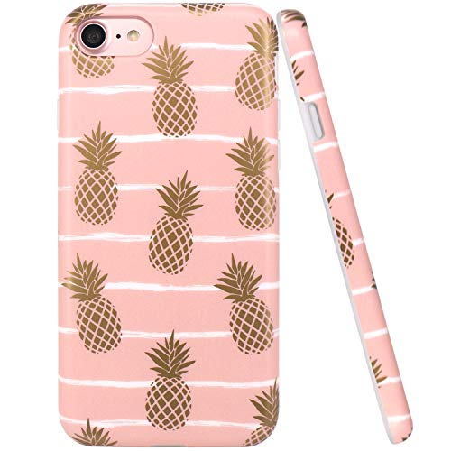 iPhone 7 Case, iPhone 8 Case, JAHOLAN Shiny Gold Pineapple Baby Pink Design Clear Bumper TPU Soft Rubber Silicone Cover Phone Case for Apple iPhone 7 / iPhone 8