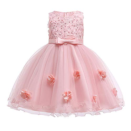 Girls Pink Dress Size 9 Sleeveless Ball Gown for Special Occasion Wedding Party Girls 9-11 Years Halloween Fancy Party Dress Knee Length for Teens Bridesmaid Dresses 7-16 Vintage Cute (Pink 150)