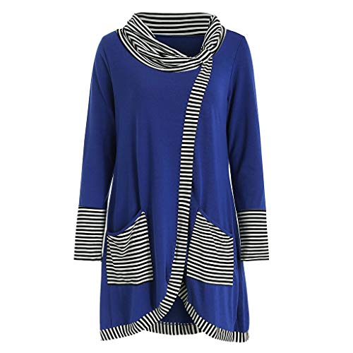 Womens Casual Striped Shirt,Cianjue Long Sleeve Print Patchwork with Pockets Tee Top Blouse Blue from Cianjue_Blouse