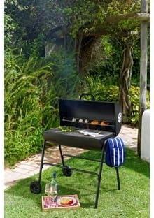 Barbacoa de carbón de tambor de aceite con tapa.