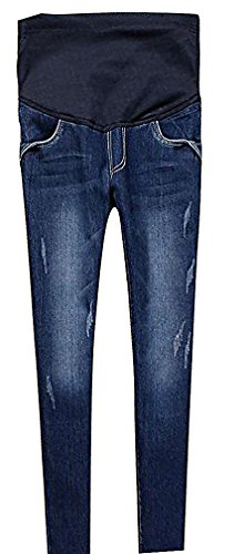 MIAMAMA Women's Maternity High Elastic Waist Comfortable Light Dark Skinny Jeans, Blue Small