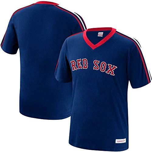 (Mitchell & Ness Boston Red Sox MLB Men's Overtime Win Vintage V-Neck T-Shirt (Large))