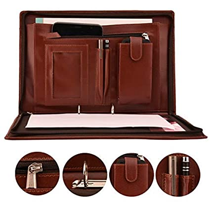 AmazingHind 2 Ring Premium File Folders For Certificates With Adjustable  Handles (Color: Brown, Size: FS, 20 Leafs)