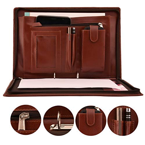 AmazingHind 2 Ring Premium File Folders For Certificates With Adjustable Handles (Color: Brown, Size: FS, 20 Leafs) product image