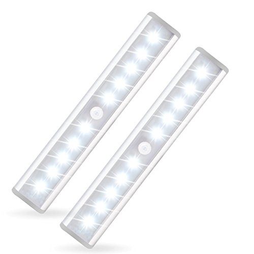 10-LED Portable Wireless Motion Sensing Closet Cabinet night Light with Magnetic Strip Battery Operated - 2pcs