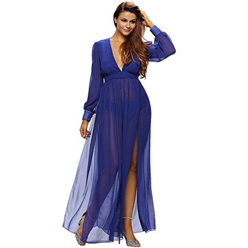 maxi a abito Donna MEI Vintage abito V amp;S profondo Blue Lungo Prom Palla elegante 007w5qY