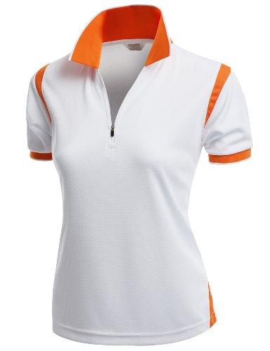 Golf Womens V-neck (Coolmax Collar 2 Tone Sporty Feel Functional Leisure Polo Tshirt Orange Size XL)