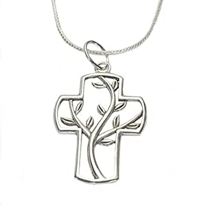 Designs by Nathan 925 Silver Pendant Necklace; Cross Framed Tree of Eternal Life Willing Sacrifice Christ