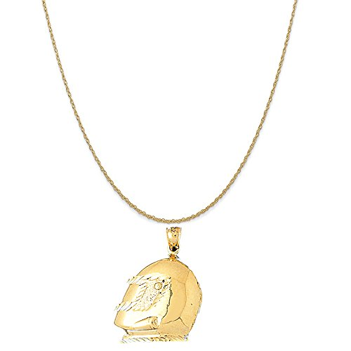 14k Yellow Gold Motorcycle Helmet Pendant on a 14K Yellow Gold Rope Chain Necklace, 20