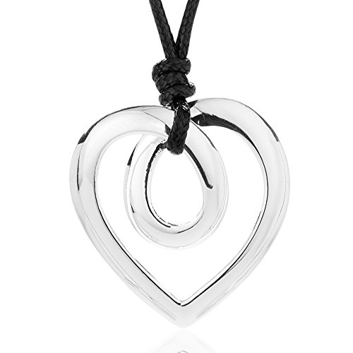 Welbijoux Necklaces for Women Twist Heart Pendant Necklace Lariat Necklace Set Rope Leather Statement Necklace (Short) by Welbijoux