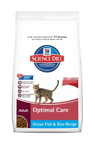 Hill's Science Diet Adult Optimal Care Original Ocean Fish and Rice Recipe Dry Cat Food, 4-Pound Bag, My Pet Supplies