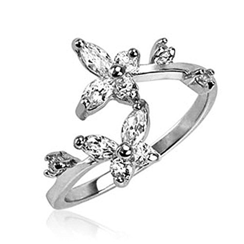 Sterling Silver with Clear Cz Butterfly Design Adjustable Toering with .925 Engraved (Butterfly Silver Toe Ring)