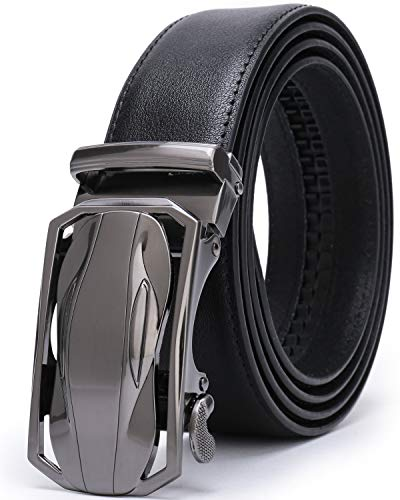 Beltox Men's Dress Leather Ratchet Slide Belts with Removable Automatic Alloy Buckle 4MM Thick 1 3/8