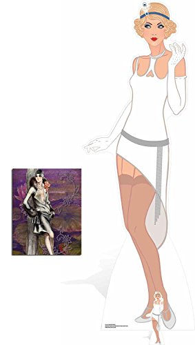 (Fan Pack - 1920s Gatsby Flapper Girl White Dress Lifesize and Mini Cardboard Cutout / Standee / Standup - Includes 8x10 Star)
