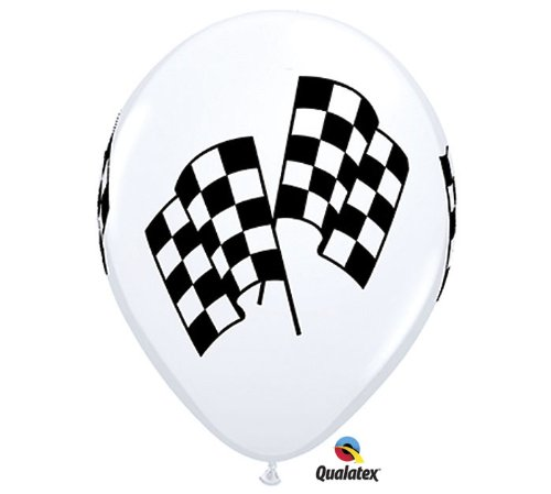 50 Checkered Racing Flag Balloons White Latex - Made in USA]()