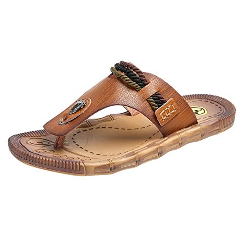 (Men's Boy's Thongs Flip Flops Sandals Classic Leisure Casual Beach Slipper Shoes Valentine's Day Gifts (Brown, 9 M)