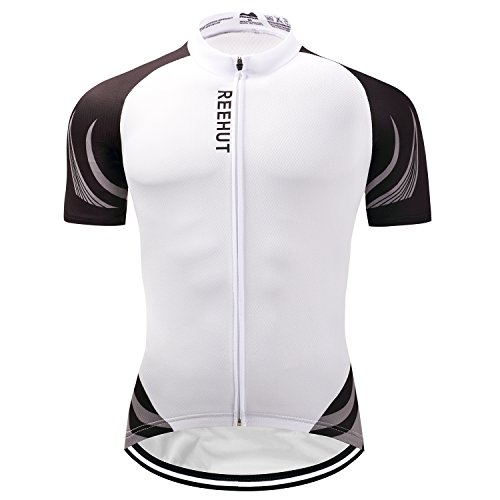 REEHUT Mens Breathable Cycling Jersey Biker Short Sleeve Shirt Quick Dry Full Zip Men's Bicycle Jacket with Pockets - White,XL
