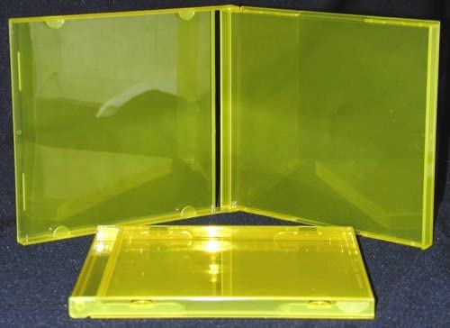 Empty Replacement Jewel Cases for CDs Brighten Up Your Collection! 10 Transparent Yellow Colored CD Jewel Boxes #CDBS10TY