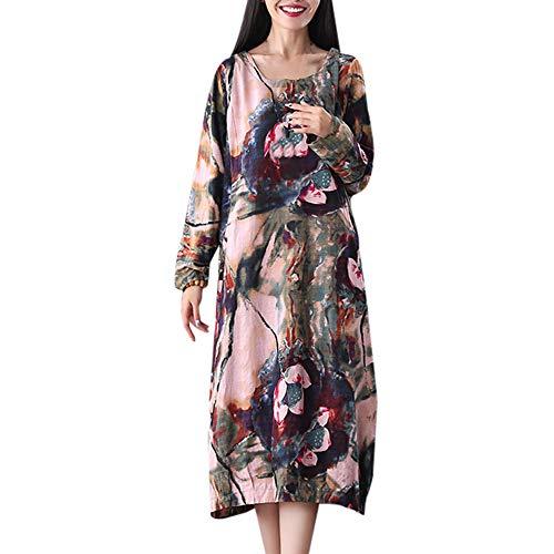 Women Plus Size Dress Ladies Long Sleeve Cotton Linen O-Neck Flower Printed Fashion Casual Loose Long ()