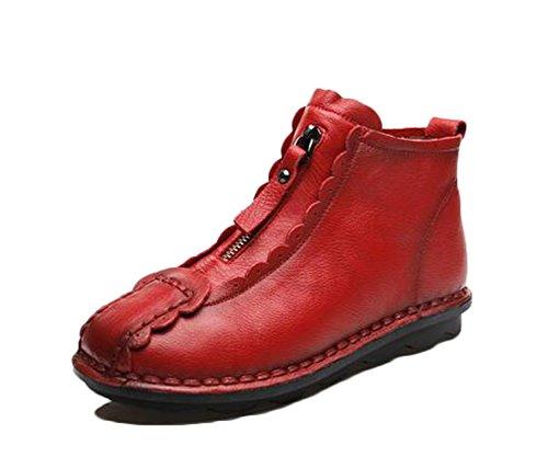MILEEO Bottine courtes noire en cuir, Filles, Femmes Rouge