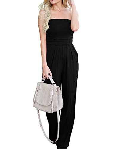 Imily Bela Womens Strapless High Waist Casual Ruched Wide Leg Jumpsuit with Pockets