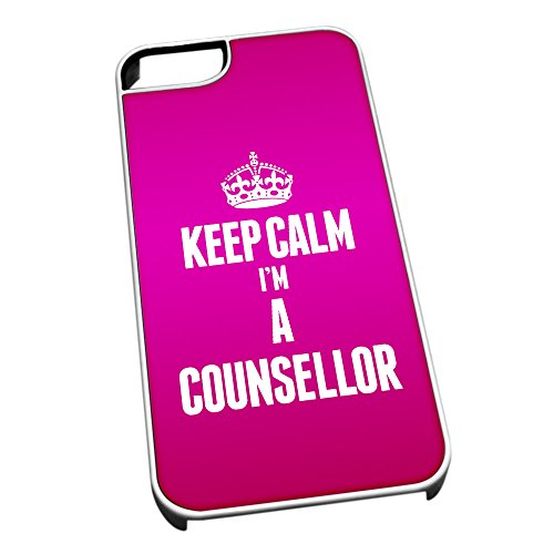 Bianco cover per iPhone 5/5S 2557 rosa Keep Calm I m A Counsellor