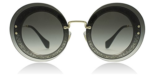 Miu Miu Women's Round Glitter Sunglasses, Transparent Glitter/Grey, One - Glitter Sunglasses Miu Miu