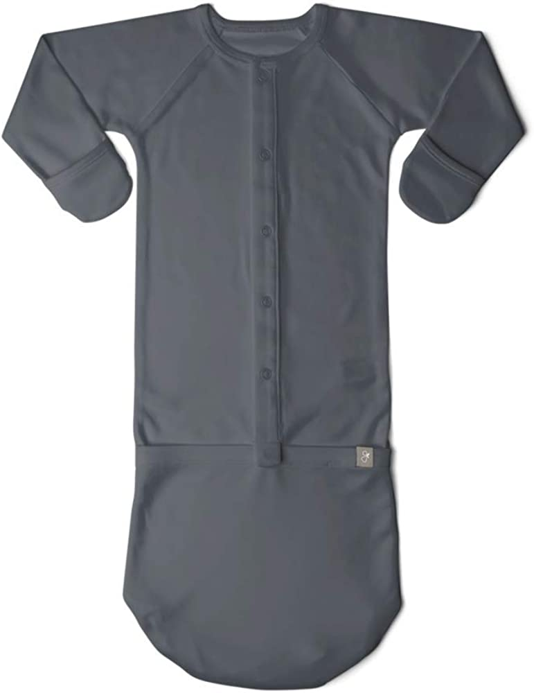 Goumi Baby Gown, Organic Cotton Baby Sleeper, Scratch Preventing Mitts and Foot Pockets (Midnight, Preemie)