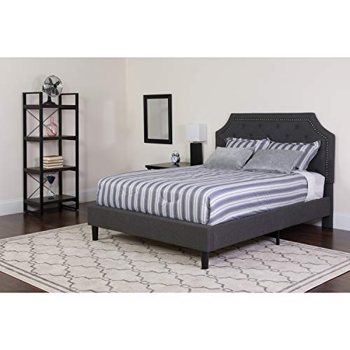 Flash Furniture Brighton King Size Tufted Upholstered Platform Bed in Dark Gray Fabric