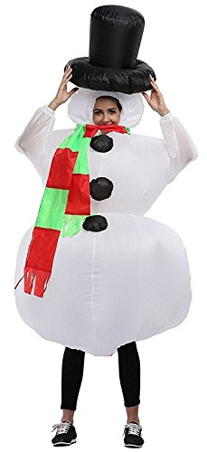 Qshine Christmas Inflatable Snowman Cosplay Costume Party Fancy Dress Blow Up Body Suit Jumpsuit]()
