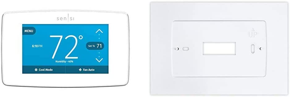 Emerson Sensi Touch Wi-Fi Smart Thermostat with Touchscreen Color Display, Compatible with Alexa, Energy Star Certified, C-wire Required, ST75W & Wall Plate for Sensi Touch Wi-Fi Thermostat, White