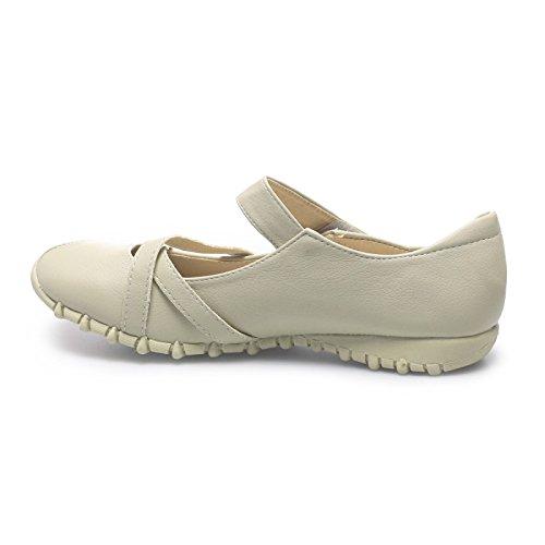 La Modeuse–Zapato de tipo bailarina, plano, con suela dentada, de punta redondeada, piel sintética, con correas cruzadas en la parte anterior Gris - Gris clair
