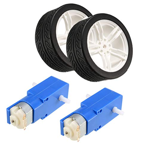 uxcell 2PCS DC Electric Motor 3-6V Dual Shaft Geared TT Magnetic Gearbox Engine with 2PCS Toy Car Tire Wheel, Mini Smart RC Car Robot Tyres ()