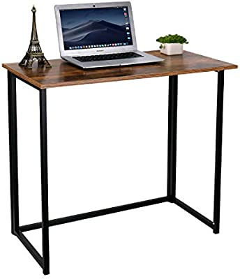 Homekoko Folding Table Small Foldable Computer Desk Home Office Laptop Table Writing Desk Compact Study Reading Table For Small Space Space Saving Office Table Rustic Brown Buy Online At Best Price In