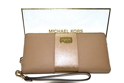 Michael Kors Gift Box Center Stripe Continental Travel Wallet (Dark Camal/ Pale Gold)
